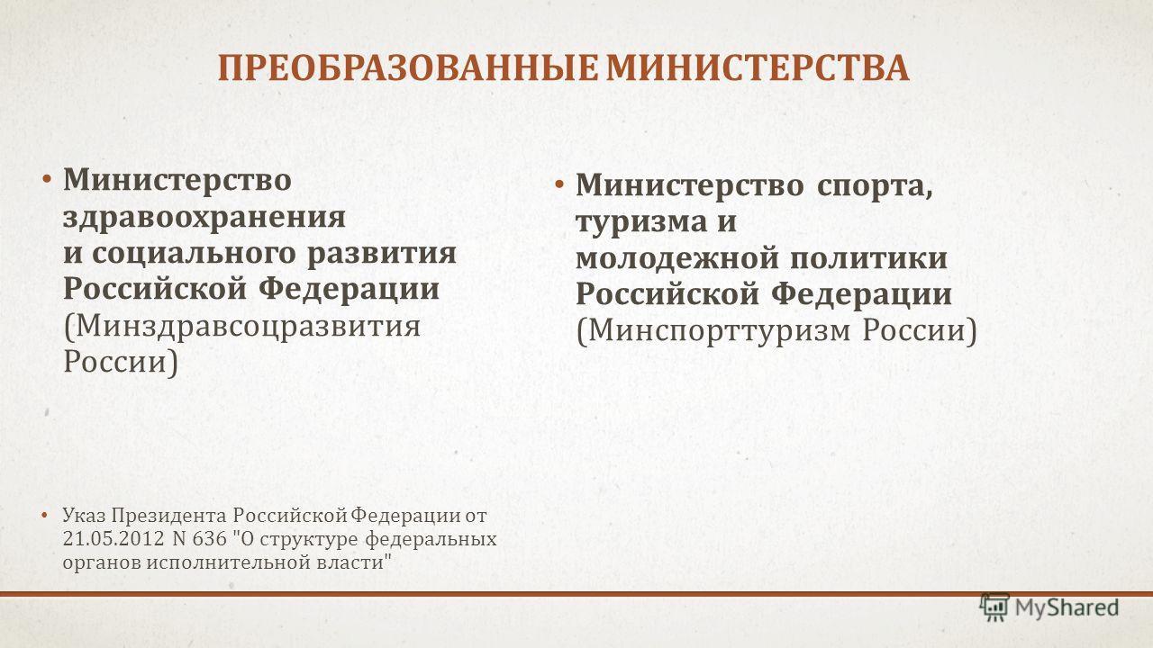 ПРЕОБРАЗОВАННЫЕ МИНИСТЕРСТВА Министерство здравоохранения и социального развития Российской Федерации (Минздравсоцразвития России) Указ Президента Российской Федерации от 21.05.2012 N 636