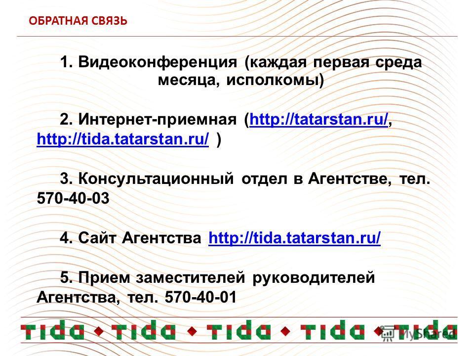 ОБРАТНАЯ СВЯЗЬ 1. Видеоконференция (каждая первая среда месяца, исполкомы) 2. Интернет-приемная (http://tatarstan.ru/, http://tida.tatarstan.ru/ )http://tatarstan.ru/ http://tida.tatarstan.ru/ 3. Консультационный отдел в Агентстве, тел. 570-40-03 4.