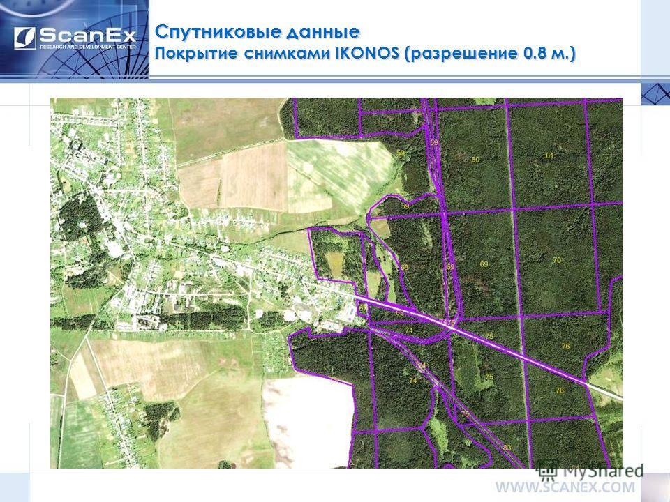 Спутниковые данные Покрытие снимками IKONOS (разрешение 0.8 м.)