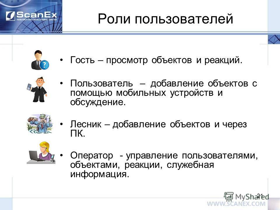 Роли пользователей Гость – просмотр объектов и реакций. Пользователь – добавление объектов с помощью мобильных устройств и обсуждение. Лесник – добавление объектов и через ПК. Оператор - управление пользователями, объектами, реакции, служебная информ