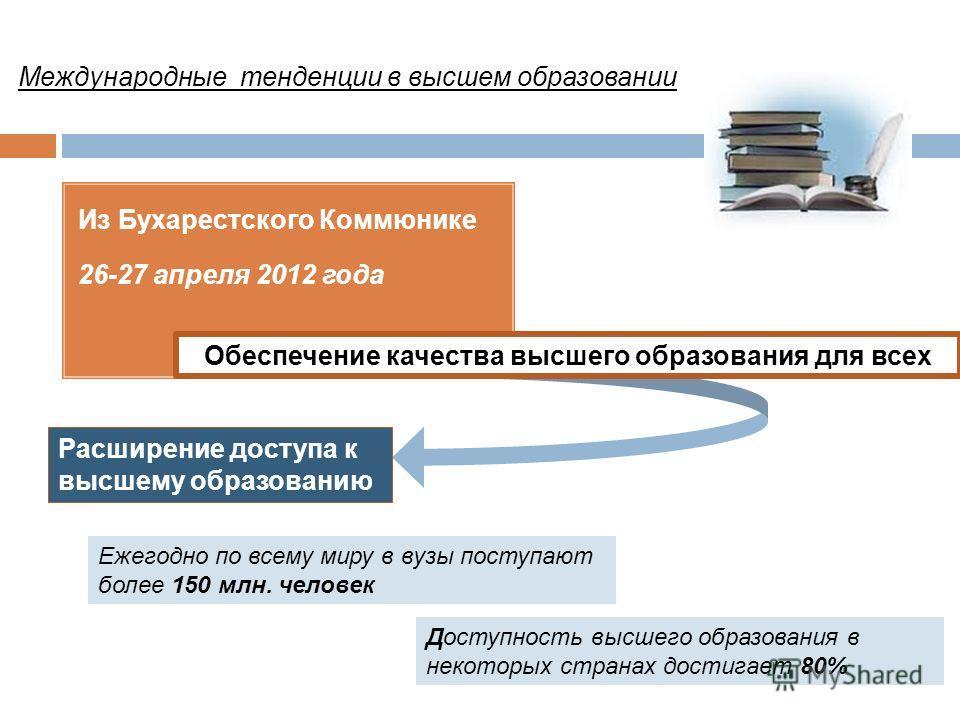 Из Бухарестского Коммюнике 26-27 апреля 2012 года Обеспечение качества высшего образования для всех Доступность высшего образования в некоторых странах достигает 80% Расширение доступа к высшему образованию Ежегодно по всему миру в вузы поступают бол