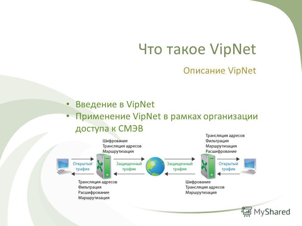Что такое VipNet Описание VipNet Введение в VipNet Применение VipNet в рамках организации доступа к СМЭВ