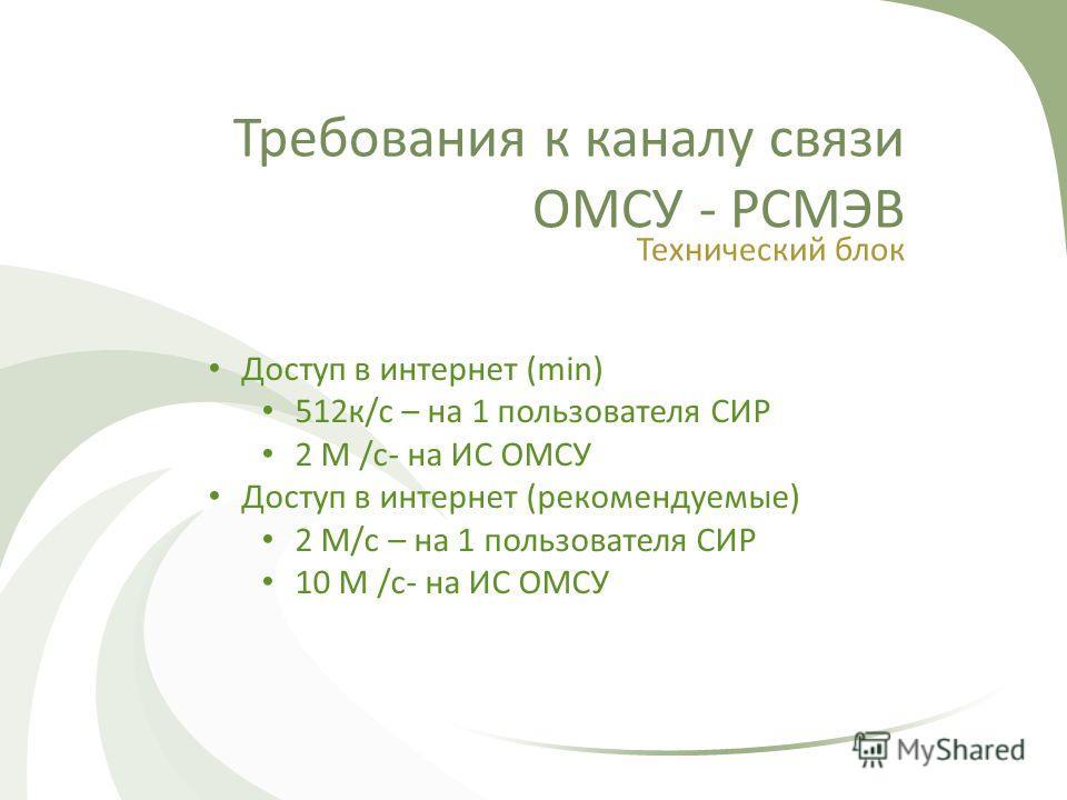 Требования к каналу связи ОМСУ - РСМЭВ Технический блок Доступ в интернет (min) 512к/с – на 1 пользователя СИР 2 М /с- на ИС ОМСУ Доступ в интернет (рекомендуемые) 2 М/с – на 1 пользователя СИР 10 М /с- на ИС ОМСУ