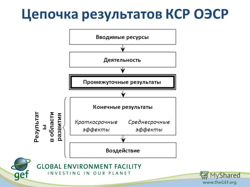 Цепочка результатов КСР ОЭСР Вводимые ресурсы Промежуточные результаты Деятельность Результат ы в области развития Воздействие Конечные результаты Краткосрочные эффекты Среднесрочные эффекты