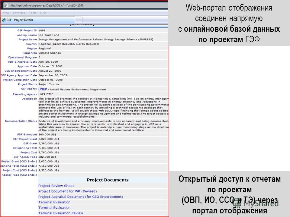Web-портал отображения соединен напрямую с онлайновой базой данных по проектам ГЭФ Открытый доступ к отчетам по проектам (ОВП, ИО, ССО и ТЭ) через портал отображения
