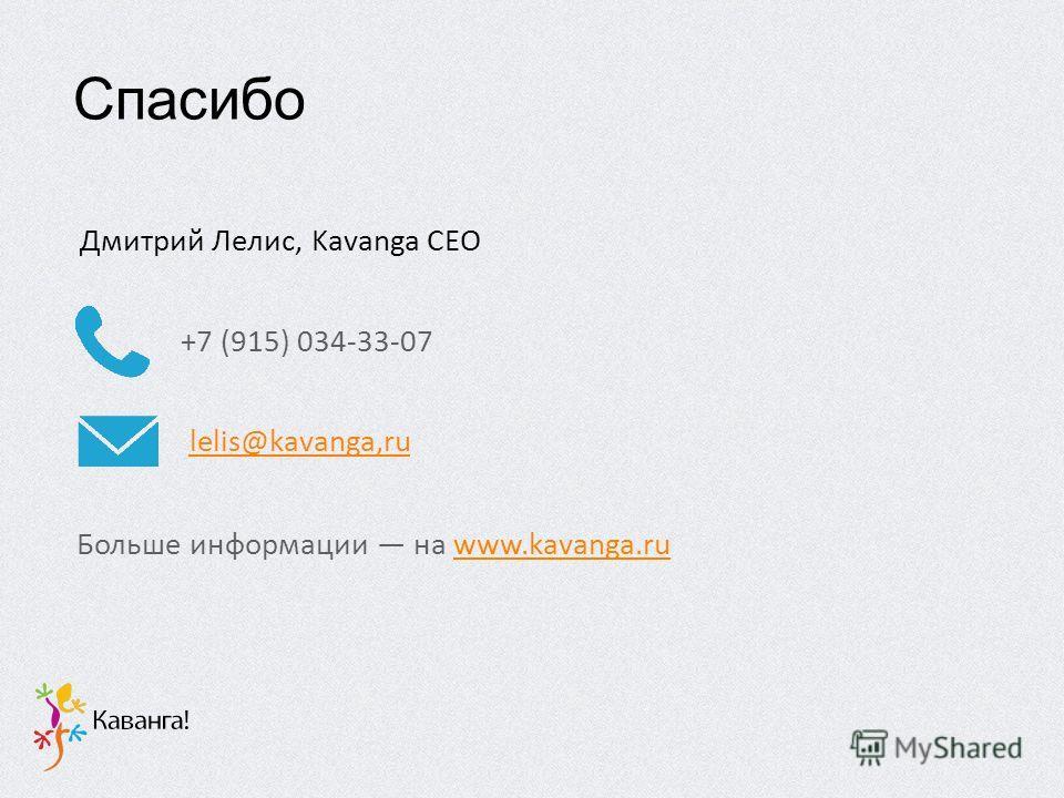 +7 (915) 034-33-07 lelis@kavanga,ru Больше информации на www.kavanga.ruwww.kavanga.ru Дмитрий Лелис, Kavanga CEO Спасибо