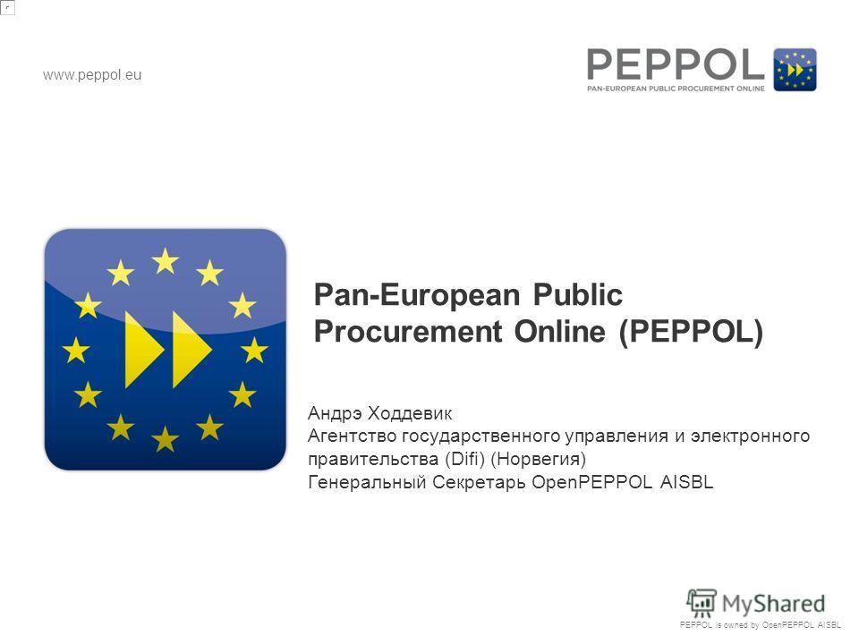 www.peppol.eu PEPPOL is owned by OpenPEPPOL AISBL Pan-European Public Procurement Online (PEPPOL) Андрэ Ходдевик Агентство государственного управления и электронного правительства (Difi) (Норвегия) Генеральный Секретарь OpenPEPPOL AISBL