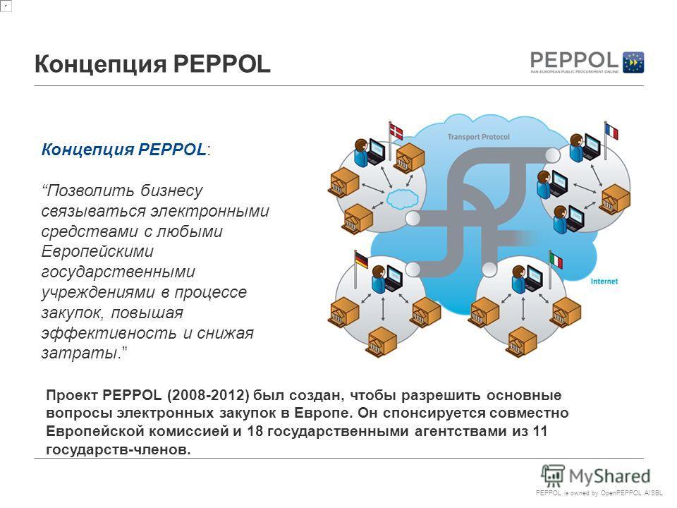 PEPPOL is owned by OpenPEPPOL AISBL Концепция PEPPOL Концепция PEPPOL: Позволить бизнесу связываться электронными средствами с любыми Европейскими государственными учреждениями в процессе закупок, повышая эффективность и снижая затраты. Проект PEPPOL