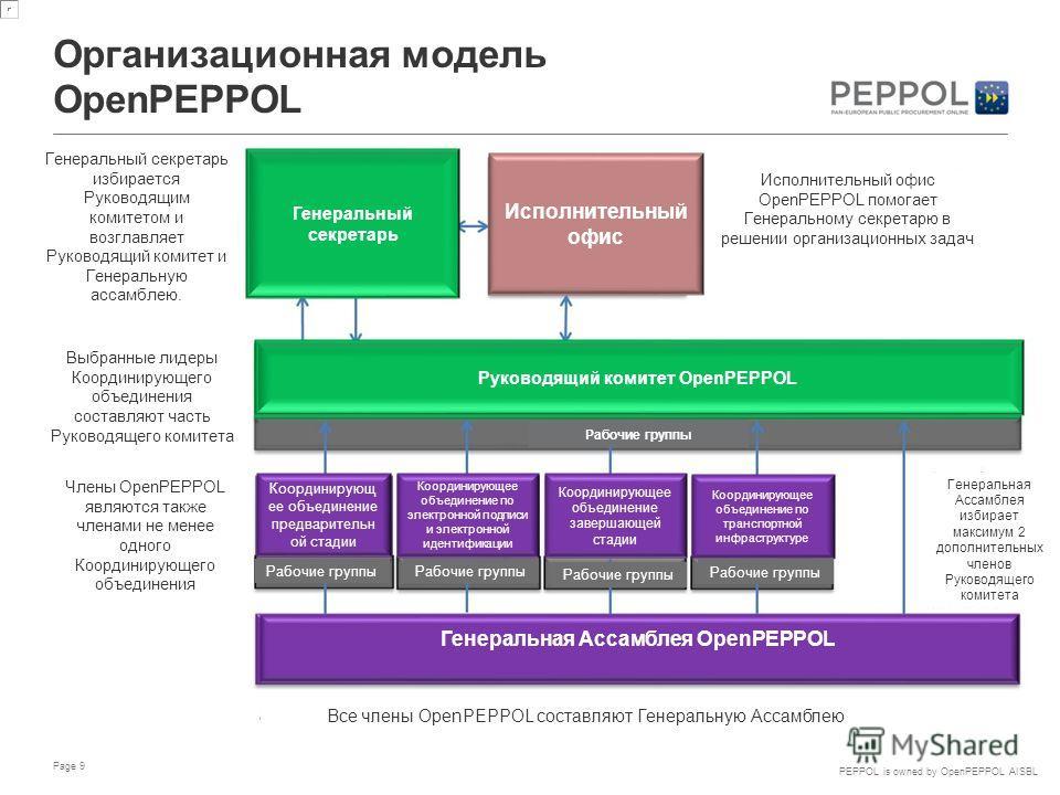 PEPPOL is owned by OpenPEPPOL AISBL Рабочие группы Организационная модель OpenPEPPOL Page 9 Генеральный секретарь Исполнительный офис Исполнительный офис OpenPEPPOL помогает Генеральному секретарю в решении организационных задач Руководящий комитет O