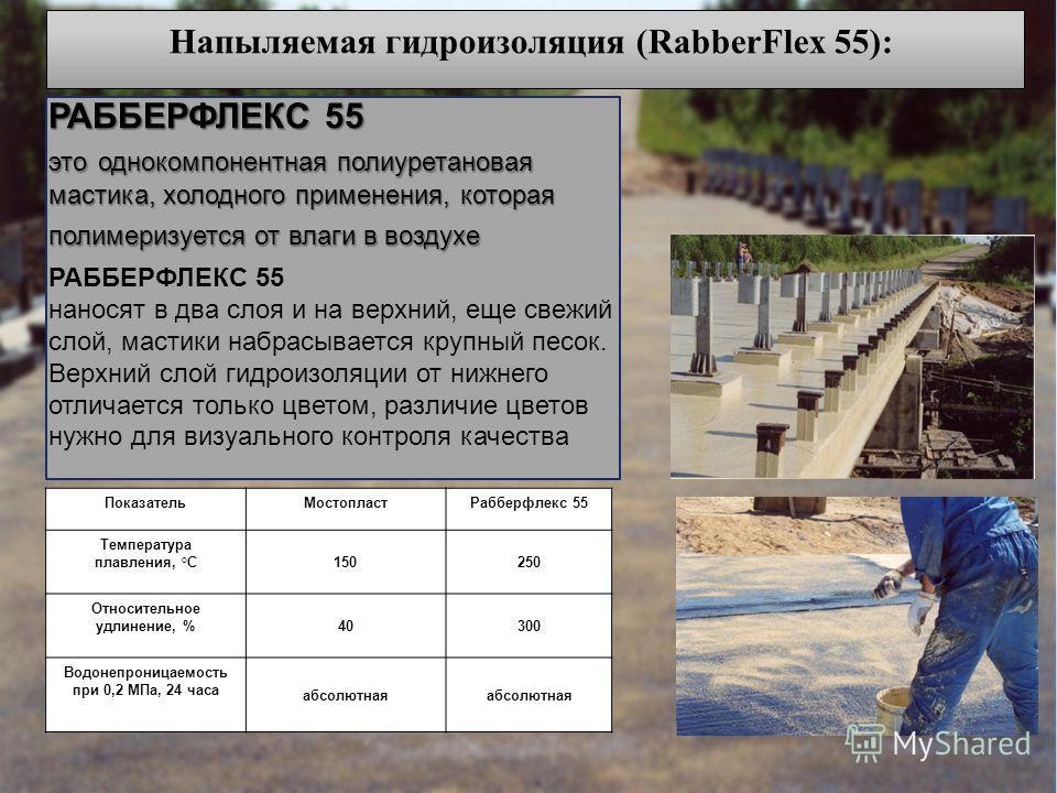 Напыляемая гидроизоляция (RabberFlex 55): РАББЕРФЛЕКС 55 это однокомпонентная полиуретановая мастика, холодного применения, которая полимеризуется от влаги в воздухе РАББЕРФЛЕКС 55 наносят в два слоя и на верхний, еще свежий слой, мастики набрасывает