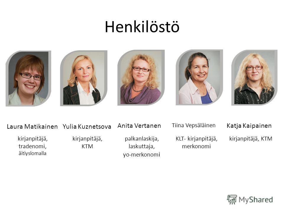 Henkilöstö Laura MatikainenYulia Kuznetsova Anita Vertanen Tiina Vepsäläinen Katja Kaipainen kirjanpitäjä, tradenomi, äitiyslomalla kirjanpitäjä, KTM palkanlaskija, laskuttaja, yo-merkonom i KLT- kirjanpitäjä, merkonomi kirjanpitäjä, KTM