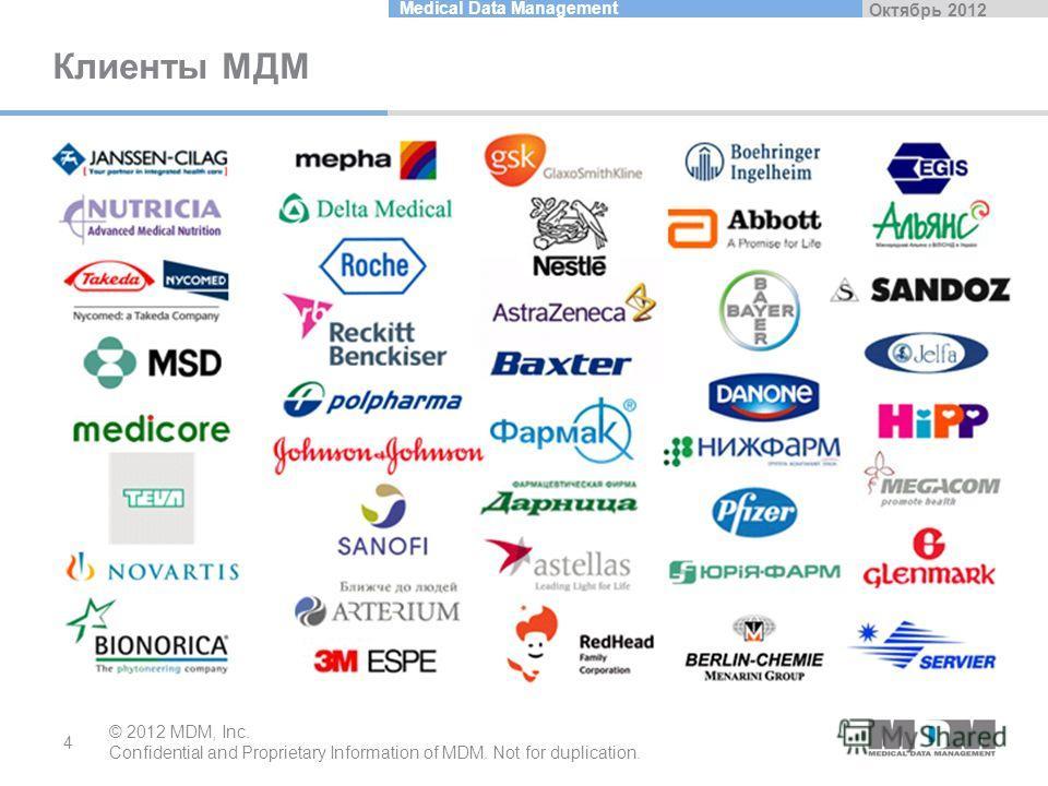 Октябрь 2012 Medical Data Management Клиенты MДM © 2012 MDM, Inc. Confidential and Proprietary Information of MDM. Not for duplication. 4