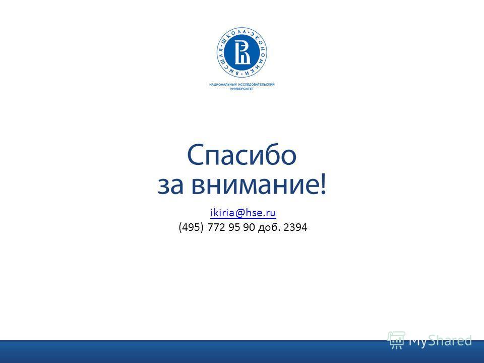ikiria@hse.ru (495) 772 95 90 доб. 2394