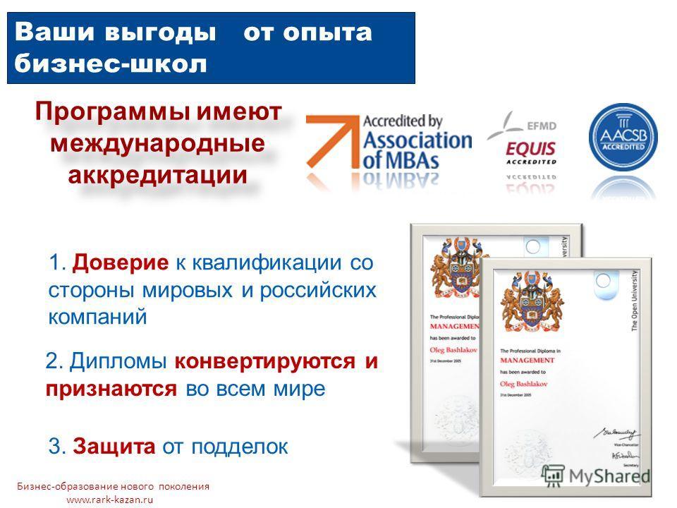 Ваши выгоды от опыта бизнес-школ Программы имеют международные аккредитации 1. Доверие к квалификации со стороны мировых и российских компаний 2. Дипломы конвертируются и признаются во всем мире 3. Защита от подделок Бизнес-образование нового поколен