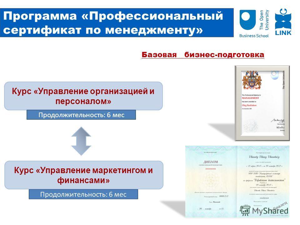 Программа «Профессиональный сертификат по менеджменту» Курс «Управление организацией и персоналом» Курс «Управление маркетингом и финансами» Продолжительность: 6 мес Базовая бизнес-подготовка