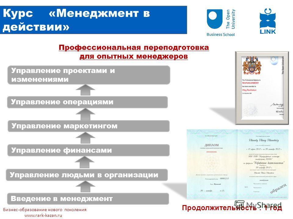 Курс «Менеджмент в действии» Введение в менеджмент Управление людьми в организации Управление финансами Управление маркетингом Управление операциями Управление проектами и изменениями Продолжительность : 1 год Профессиональная переподготовка для опыт