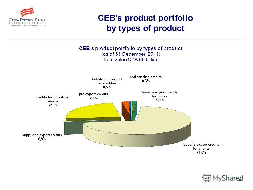 8 CEBs product portfolio by types of product