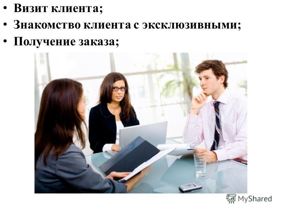 знакомство клиента с услугами фирмы