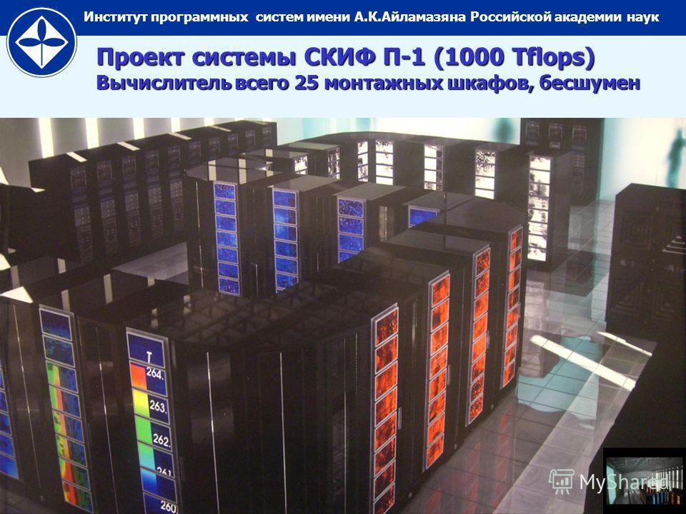 Институт программных систем имени А.К.Айламазяна Российской академии наук Проект системы СКИФ П-1 (1000 Tflops) Вычислитель всего 25 монтажных шкафов, бесшумен
