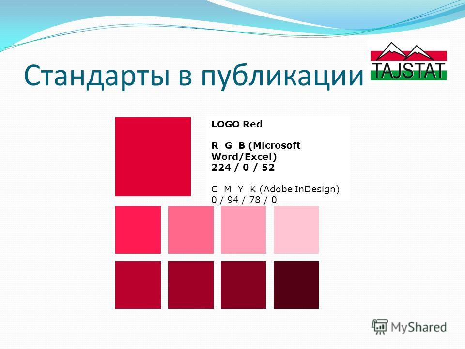 Стандарты в публикации LOGO Red R G B (Microsoft Word/Excel) 224 / 0 / 52 C M Y K (Adobe InDesign) 0 / 94 / 78 / 0