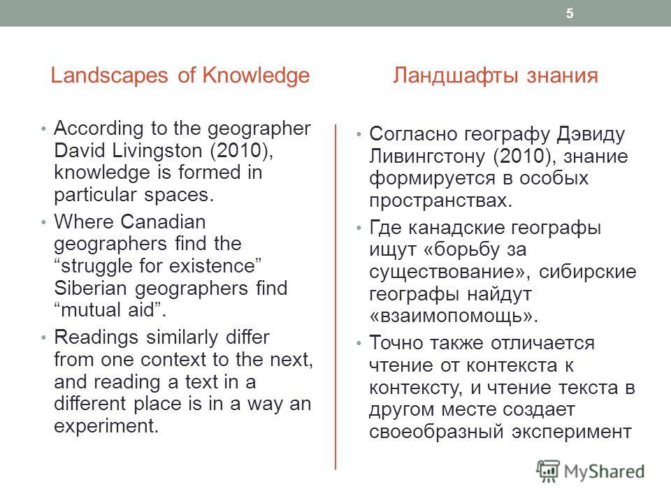 Landscapes of Knowledge According to the geographer David Livingston (2010), knowledge is formed in particular spaces. Where Canadian geographers find the struggle for existence Siberian geographers find mutual aid. Readings similarly differ from one