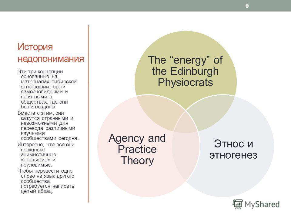 История недопонимания The energy of the Edinburgh Physiocrats Этнос и этногенез Agency and Practice Theory Эти три концепции основанные на материалах сибирской этнографии, были самоочевидными и понятными в обществах, где они были созданы Вместе с эти