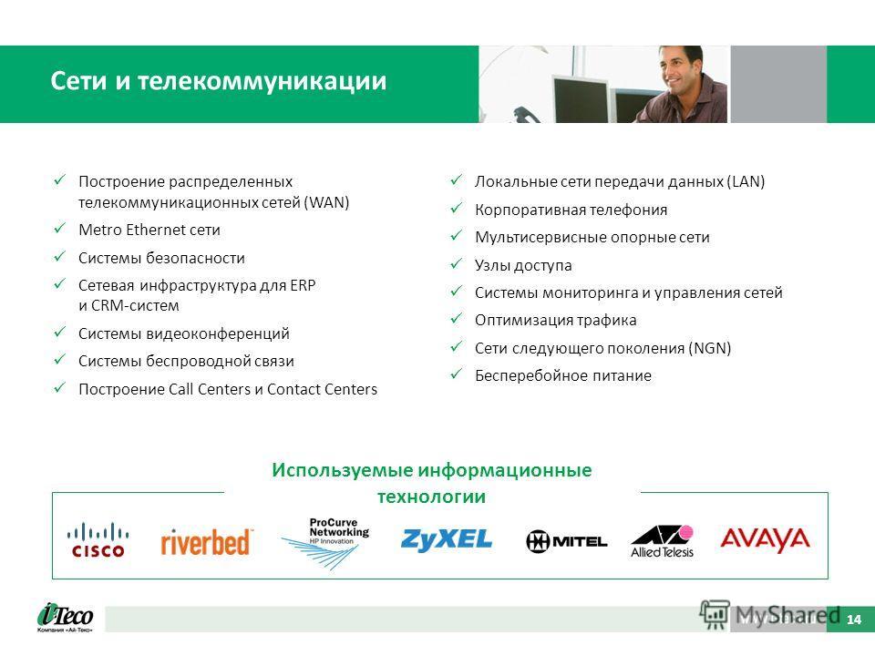 Построение распределенных телекоммуникационных сетей (WAN) Metro Ethernet сети Системы безопасности Сетевая инфраструктура для ERP и CRM-систем Системы видеоконференций Системы беспроводной связи Построение Call Centers и Contact Centers Локальные се