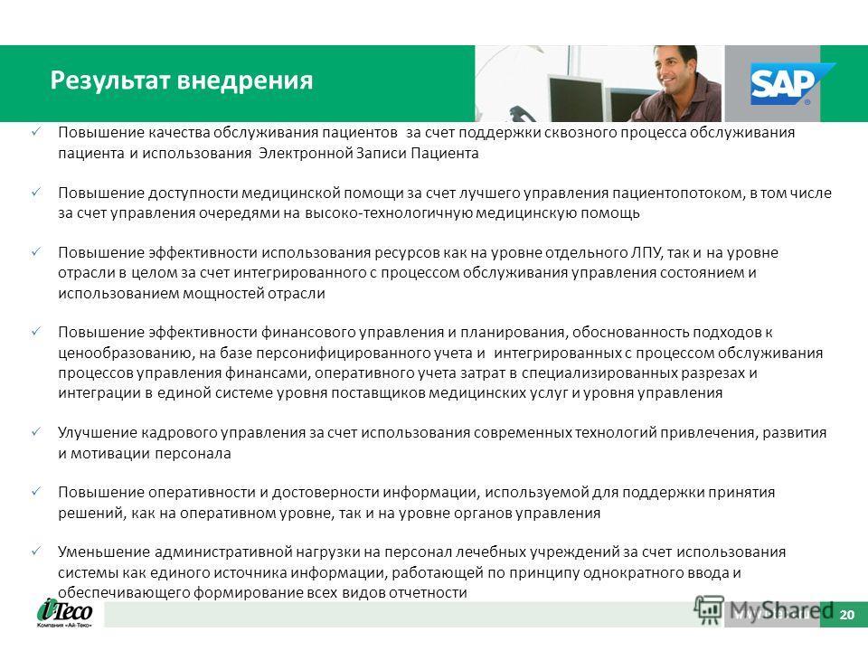 Результат внедрения 20 Повышение качества обслуживания пациентов за счет поддержки сквозного процесса обслуживания пациента и использования Электронной Записи Пациента Повышение доступности медицинской помощи за счет лучшего управления пациентопотоко