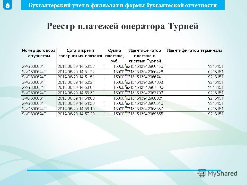 Бухгалтерский учет в филиалах и формы бухгалтеской отчетности Реестр платежей оператора Турпей