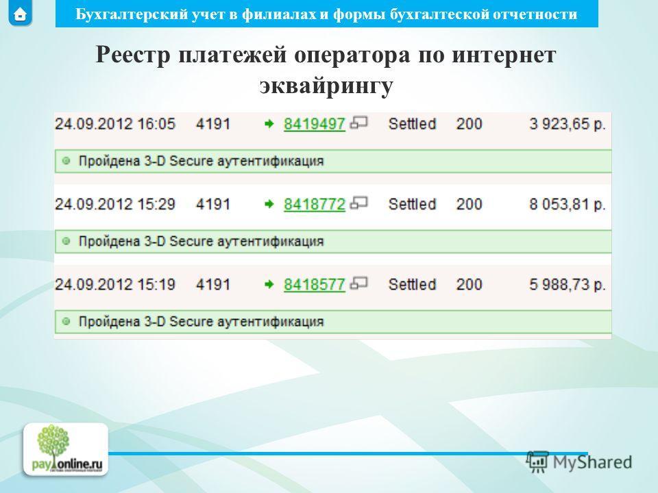 Бухгалтерский учет в филиалах и формы бухгалтеской отчетности Реестр платежей оператора по интернет эквайрингу