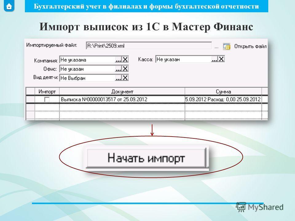 Бухгалтерский учет в филиалах и формы бухгалтеской отчетности Импорт выписок из 1С в Мастер Финанс