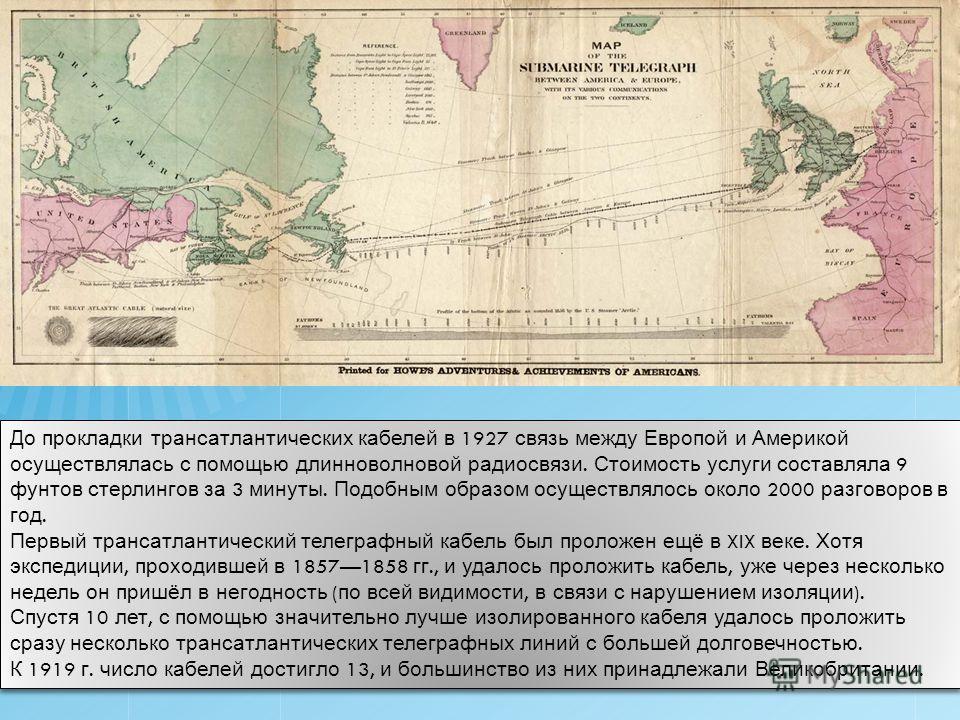 До прокладки трансатлантических кабелей в 1927 связь между Европой и Америкой осуществлялась с помощью длинноволновой радиосвязи. Стоимость услуги составляла 9 фунтов стерлингов за 3 минуты. Подобным образом осуществлялось около 2000 разговоров в год