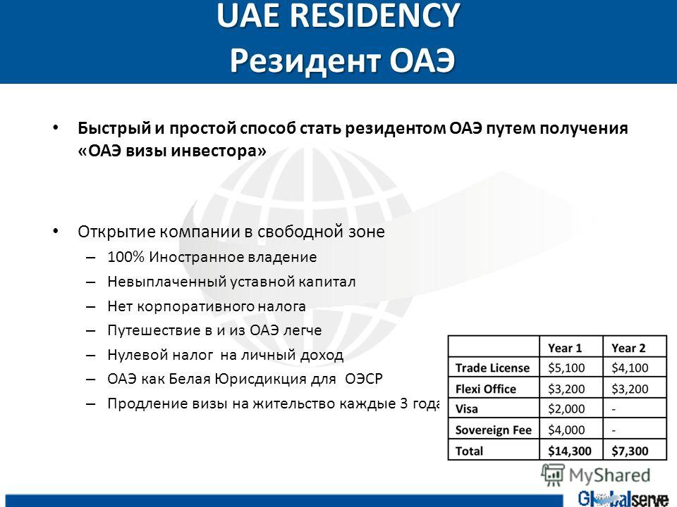 UAE RESIDENCY Резидент ОАЭ Быстрый и простой способ стать резидентом ОАЭ путем получения «ОАЭ визы инвестора» Открытие компании в свободной зоне – 100% Иностранное владение – Невыплаченный уставной капитал – Нет корпоративного налога – Путешествие в