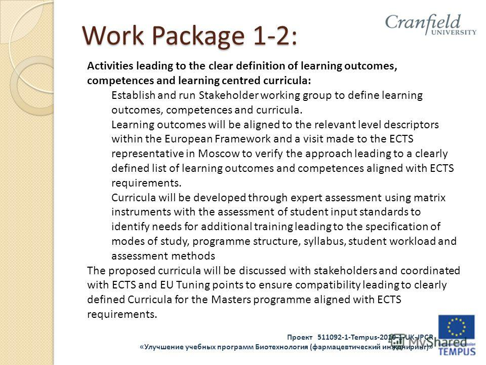 Проект 511092-1-Tempus-2010-1-UK-JPCR «Улучшение учебных программ Биотехнология (фармацевтический инжениринг)» Work Package 1-2: Activities leading to the clear definition of learning outcomes, competences and learning centred curricula: Establish an