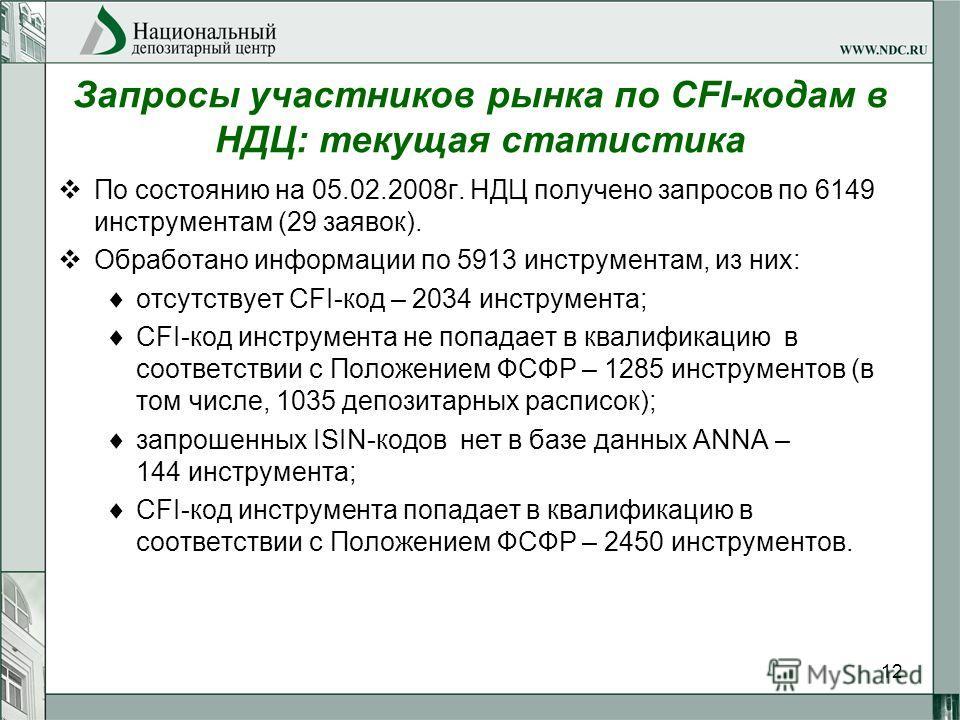 12 Запросы участников рынка по CFI-кодам в НДЦ: текущая статистика По состоянию на 05.02.2008г. НДЦ получено запросов по 6149 инструментам (29 заявок). Обработано информации по 5913 инструментам, из них: отсутствует CFI-код – 2034 инструмента; CFI-ко