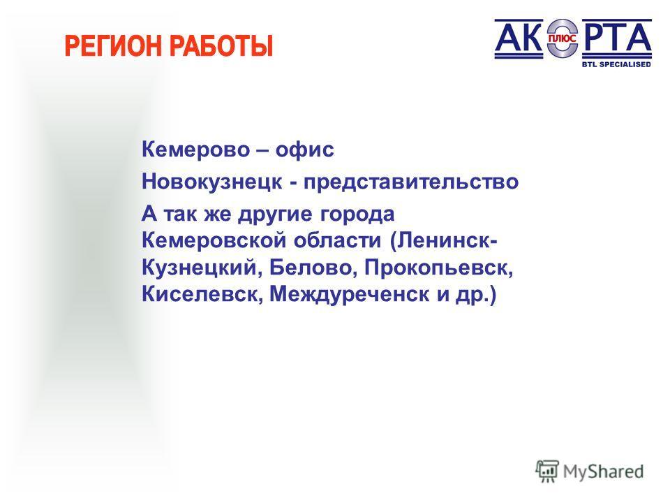 Кемерово – офис Новокузнецк - представительство А так же другие города Кемеровской области (Ленинск- Кузнецкий, Белово, Прокопьевск, Киселевск, Междуреченск и др.)