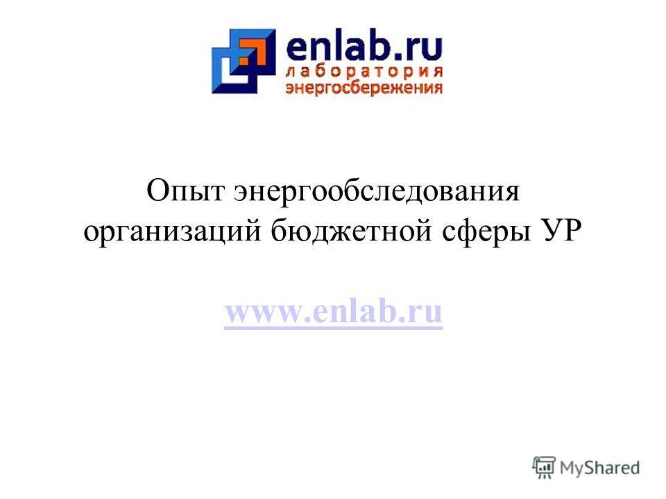 Опыт энергообследования организаций бюджетной сферы УР www.enlab.ru