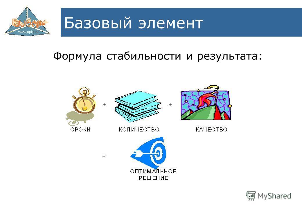 Формула стабильности и результата: Базовый элемент