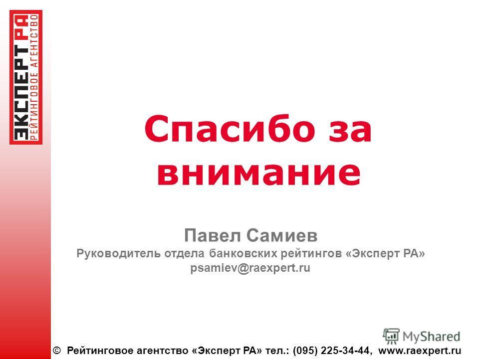 © Рейтинговое агентство «Эксперт РА» тел.: (095) 225-34-44, www.raexpert.ru Спасибо за внимание Павел Самиев Руководитель отдела банковских рейтингов «Эксперт РА» psamiev@raexpert.ru