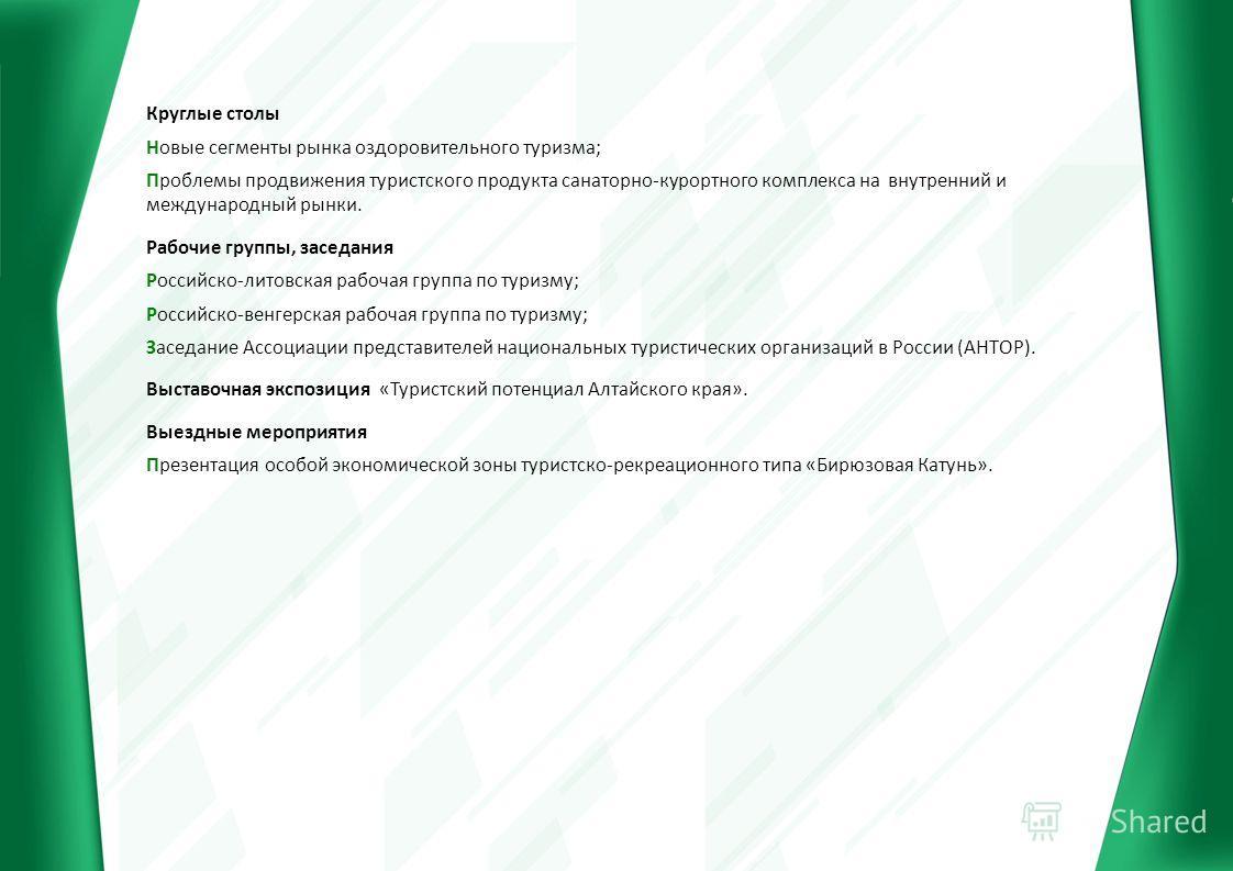 Круглые столы Новые сегменты рынка оздоровительного туризма; Проблемы продвижения туристского продукта санаторно-курортного комплекса на внутренний и международный рынки. Рабочие группы, заседания Российско-литовская рабочая группа по туризму; Россий