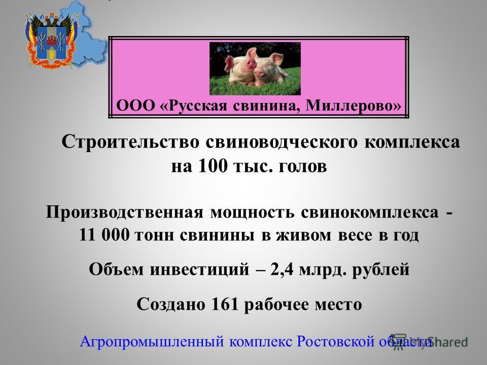 Строительство свиноводческого комплекса на 100 тыс. голов Производственная мощность свинокомплекса - 11 000 тонн свинины в живом весе в год Объем инвестиций – 2,4 млрд. рублей Создано 161 рабочее место Агропромышленный комплекс Ростовской области ООО