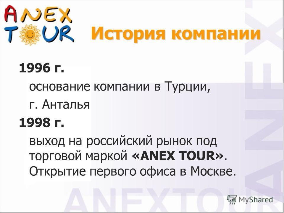 1996 г. основание компании в Турции, г. Анталья 1998 г. выход на российский рынок под торговой маркой «ANEX TOUR». Открытие первого офиса в Москве.