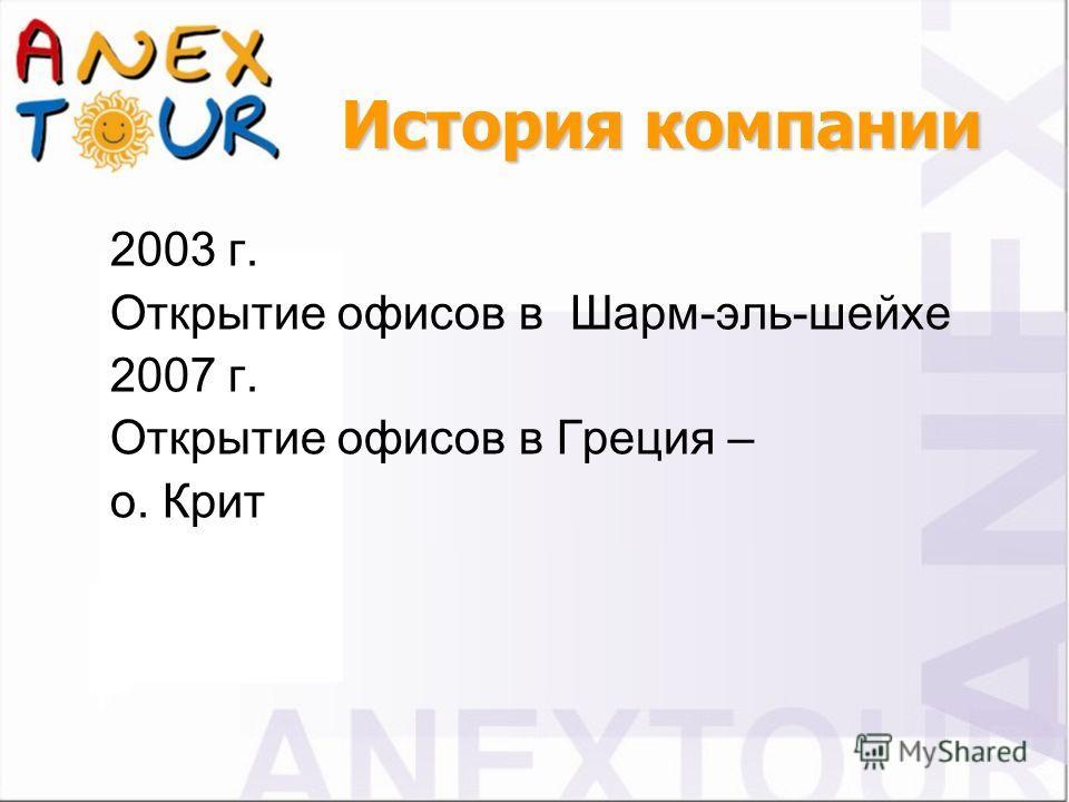 2003 г. Открытие офисов в Шарм-эль-шейхе 2007 г. Открытие офисов в Греция – о. Крит