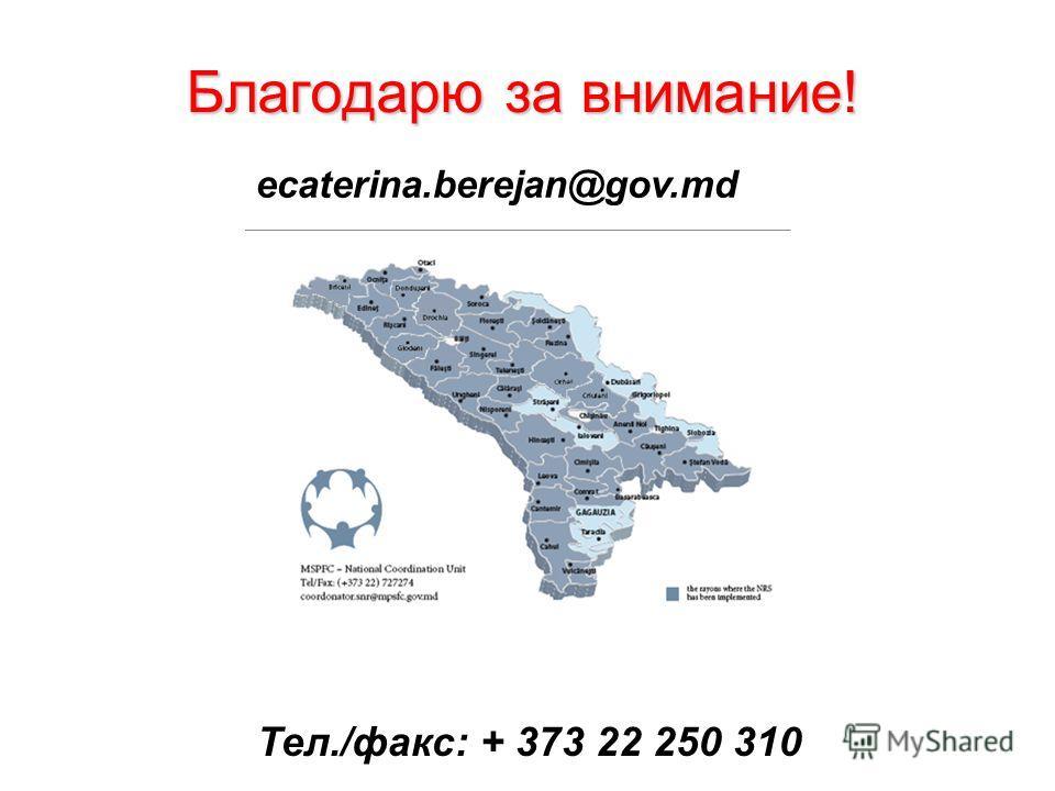 Благодарю за внимание! ecaterina.berejan@gov.md Тел./факс: + 373 22 250 310