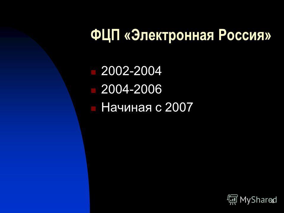 4 ФЦП «Электронная Россия» 2002-2004 2004-2006 Начиная с 2007