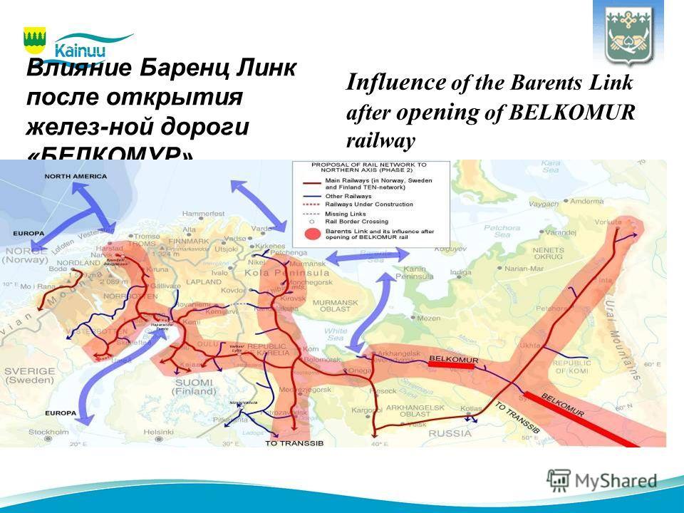 Влияние Баренц Линк после открытия желез-ной дороги «БЕЛКОМУР» Influence of the Barents Link after opening of BELKOMUR railway
