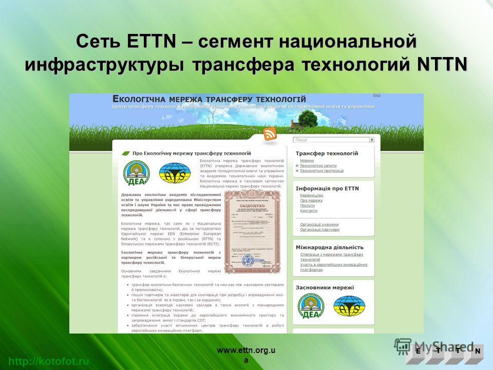 Сеть ETTN – cегмент национальной инфраструктуры трансфера технологий NTTN ETTN http://kotofot.ru www.ettn.org.u a