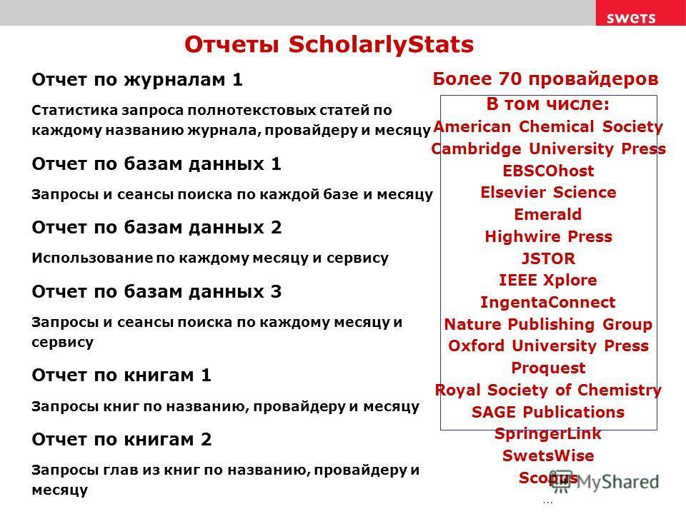 Отчеты ScholarlyStats Отчет по журналам 1 Статистика запроса полнотекстовых статей по каждому названию журнала, провайдеру и месяцу Отчет по базам данных 1 Запросы и сеансы поиска по каждой базе и месяцу Отчет по базам данных 2 Использование по каждо
