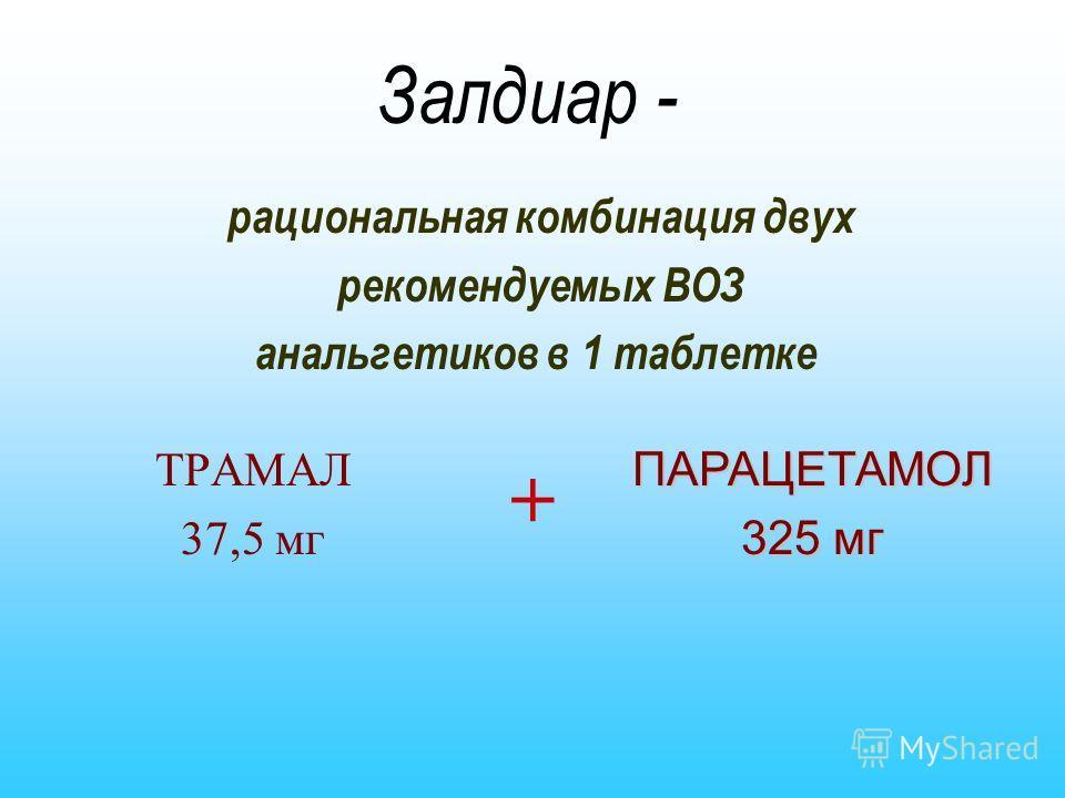Залдиар - ТРАМАЛ 37,5 мг рациональная комбинация двух рекомендуемых ВОЗ анальгетиков в 1 таблетке ПАРАЦЕТАМОЛ 325 мг +