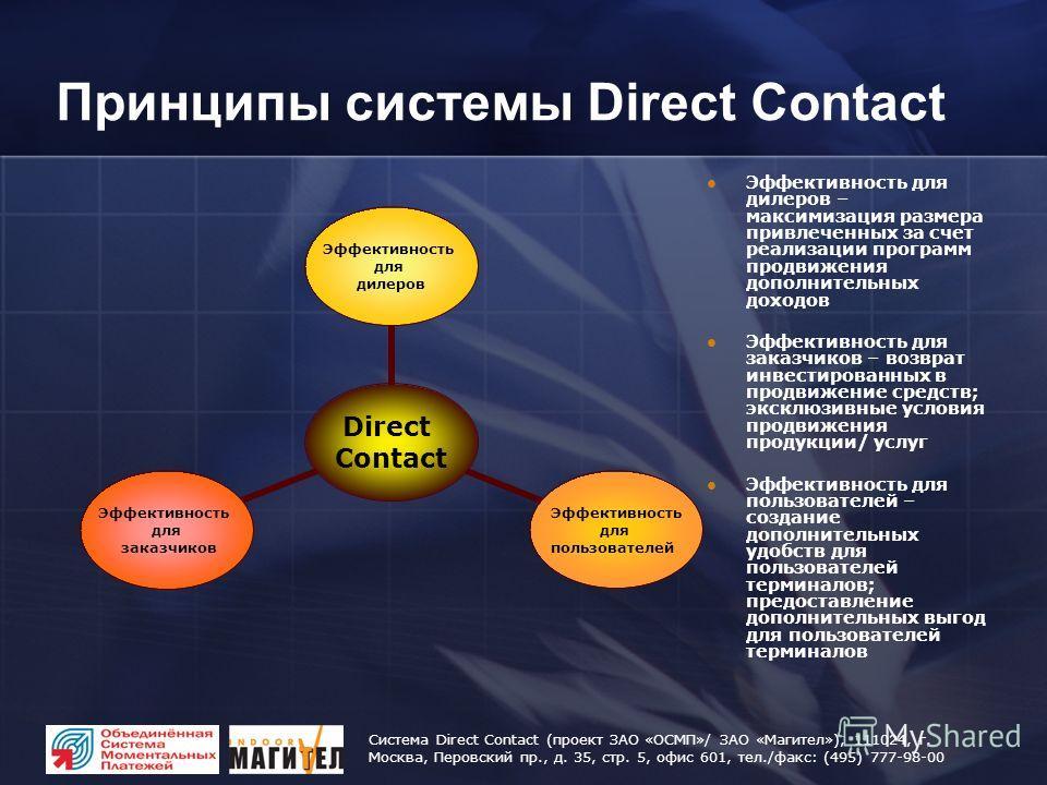 Система Direct Contact (проект ЗАО «ОСМП»/ ЗАО «Магител»), 111024, г. Москва, Перовский пр., д. 35, стр. 5, офис 601, тел./факс: (495) 777-98-00 Принципы системы Direct Contact Direct Contact Эффективность для дилеров Эффективность для пользователей